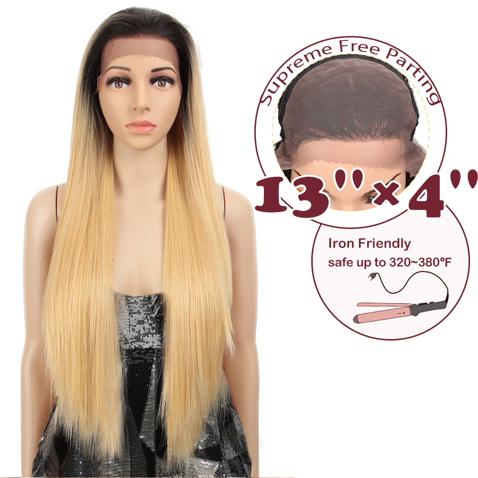 MAGIC 13X4 Large Area High Temperature Fiber Blonde 32 Inch Long Straight Natural Hairline Synthetic Lace Front Wigs For Women