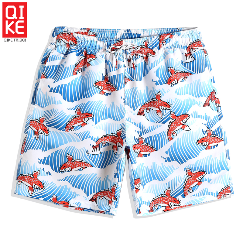 Cartoon Fish Waving   Board     shorts   Men's Sexy Quick dry surfing swimsuit joggers printed Sport de bain homme briefs loose