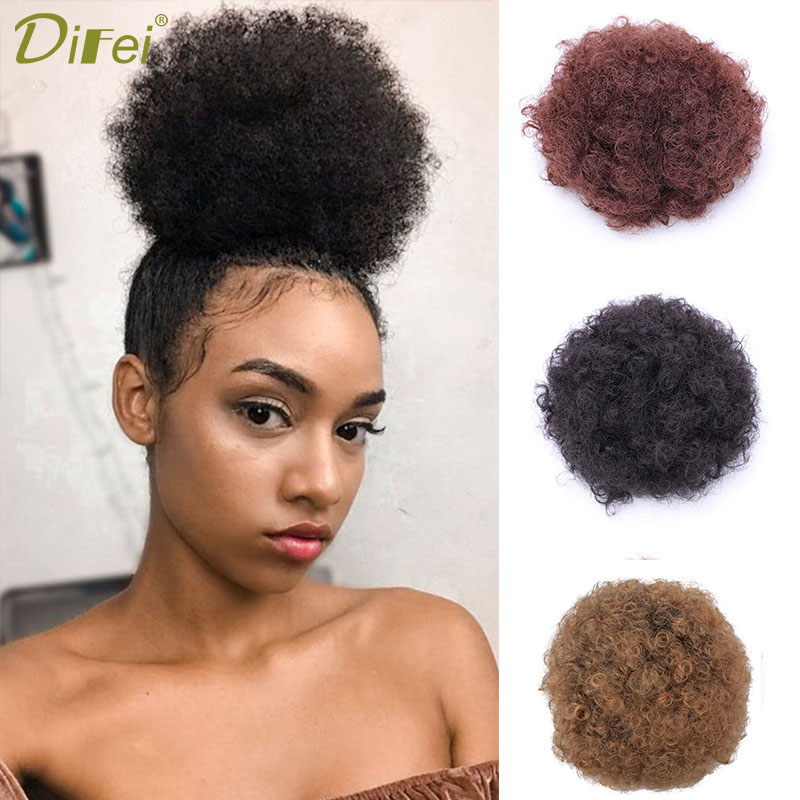 DIFEI Puff Afro Curly Chignon Wig Ponytail Drawstring Short Afro Kinky Pony Tail Clip In On Synthetic Hair Bun Hair Pieces