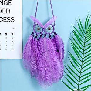 Dream Catcher Handmade Purple Feather Wall Hanging Owl Dreamcatcher Pendant Wedding Girls Bedroom Decor
