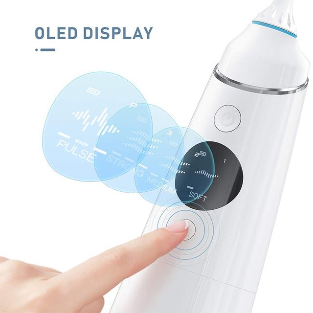 Liberex irrigador de agua Oral Flosser inalámbrico Dental USB recargable impermeable 300ml portátil 4 modos 5 puntas de chorro limpiador de dientes