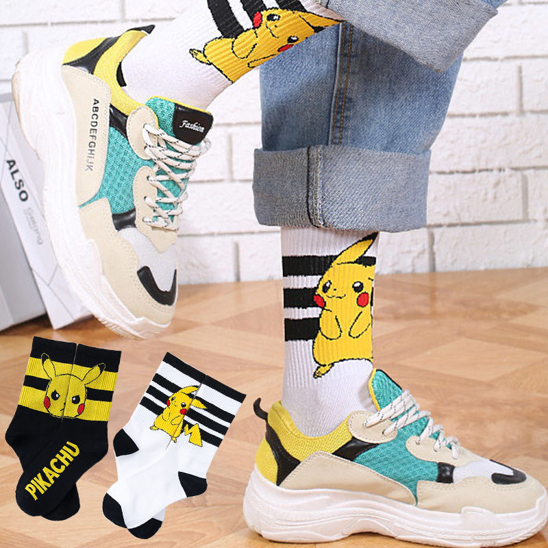 Pikachu Socks Women Cartoon Anime Pokemon Kawaii Harajuku Cotton Non-slip Men Home Black White Couples Socks