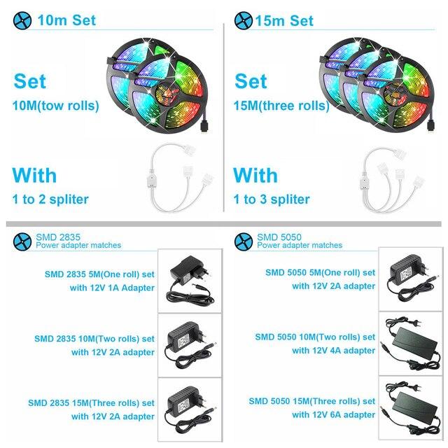 LED Strip Light Waterproof 5M 10M 15M RGB Controller 12V LED 6