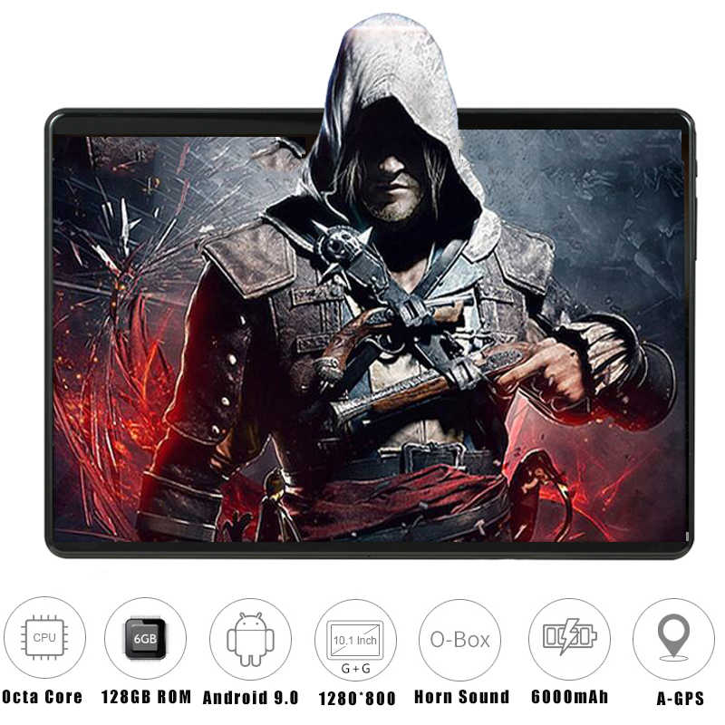 6G + 128GB verre trempé 2.5D 10 pouces tablette Android 9.0 6GB RAM 128GB ROM 1280*800 IPS 3G 4G LTE corne tablette forte 10 10.1""