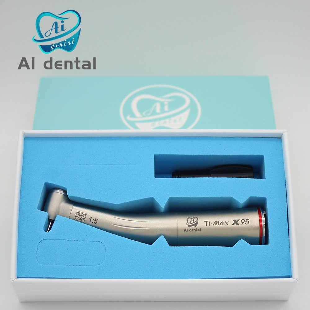 Ti-מקס X95 שיניים 1:5 מהירות הגדלת אדום טבעת קונטרה זווית handpiece אל חלד טיטניום גוף עבור FG ספחת