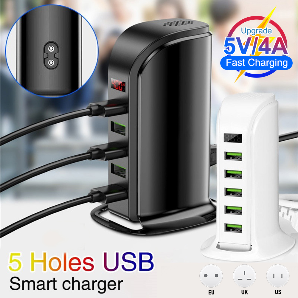 5 Ports Multiple USB Charger 5V 4A Smart Adapter Mobile Phone Tablet Fast Charging Device For iPhone iPad Phone Accessories