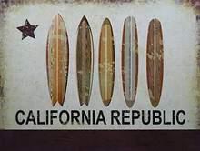 Drapeau de Surf Vintage de la république de californie, Plaque de décoration murale pour la maison, Bar, Pub, cuisine, Restaurant