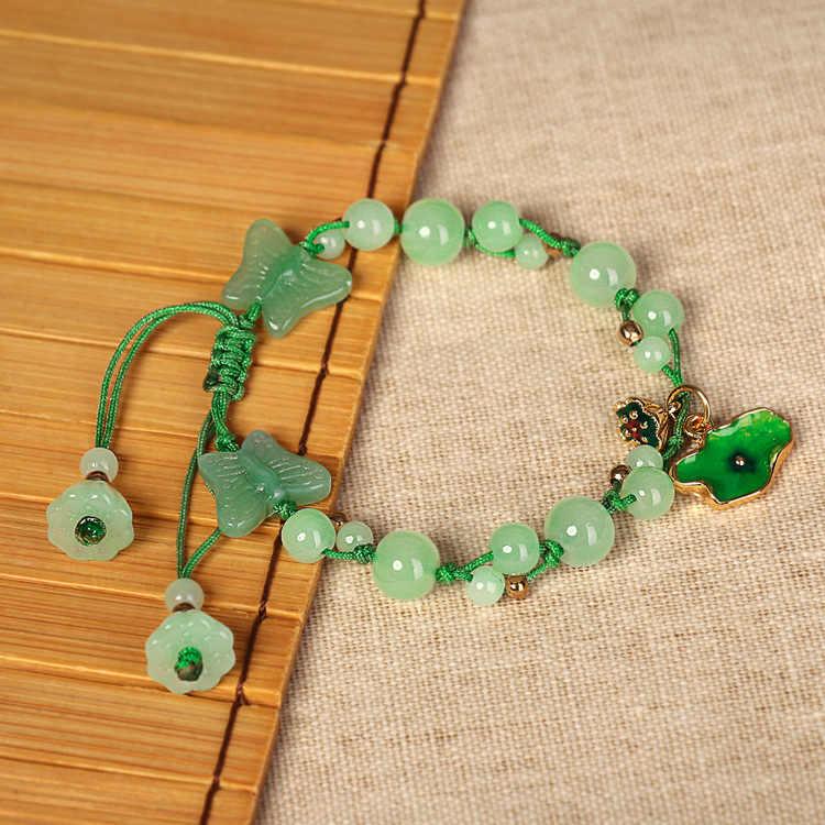 Cloisonne Mengkilap Kupu-kupu Lotus Daun Gelang Kecil Segar Menenun Nasional Kuno Pesona Gaya Desain No.2235