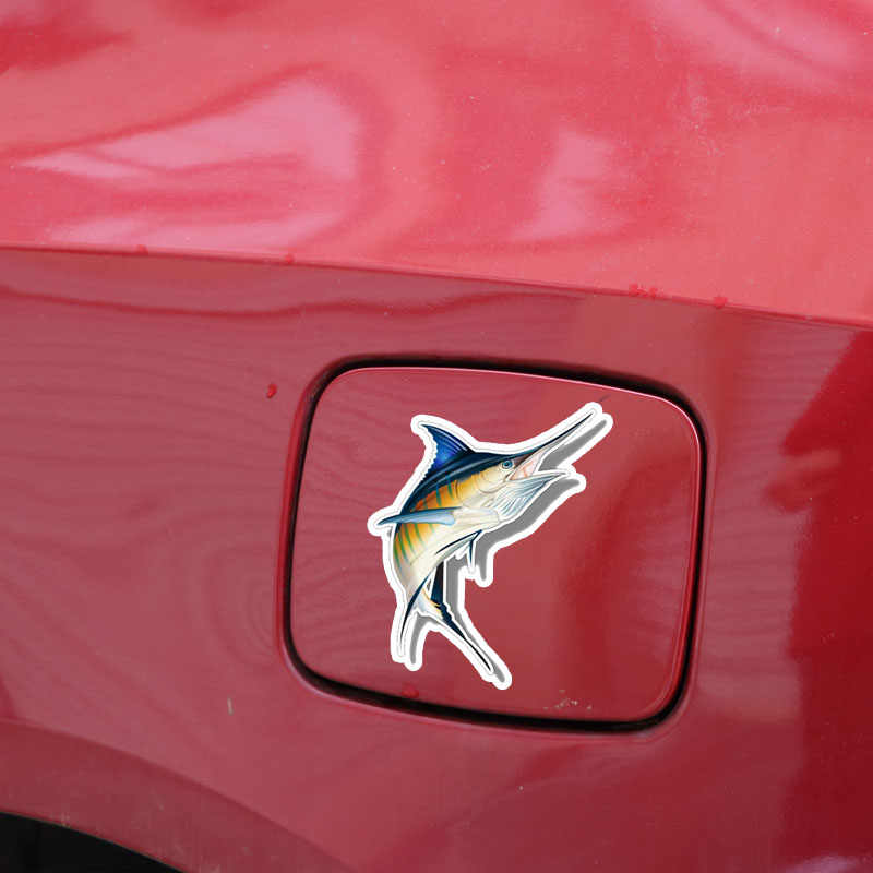 Aliauto Kreatif Stiker Mobil Marlin Ikan Air Asin Aksesoris Lucu PVC Decal untuk Passat B5 Porsche Mazda 6 Kursi Leon, 16 Cm * 14 Cm