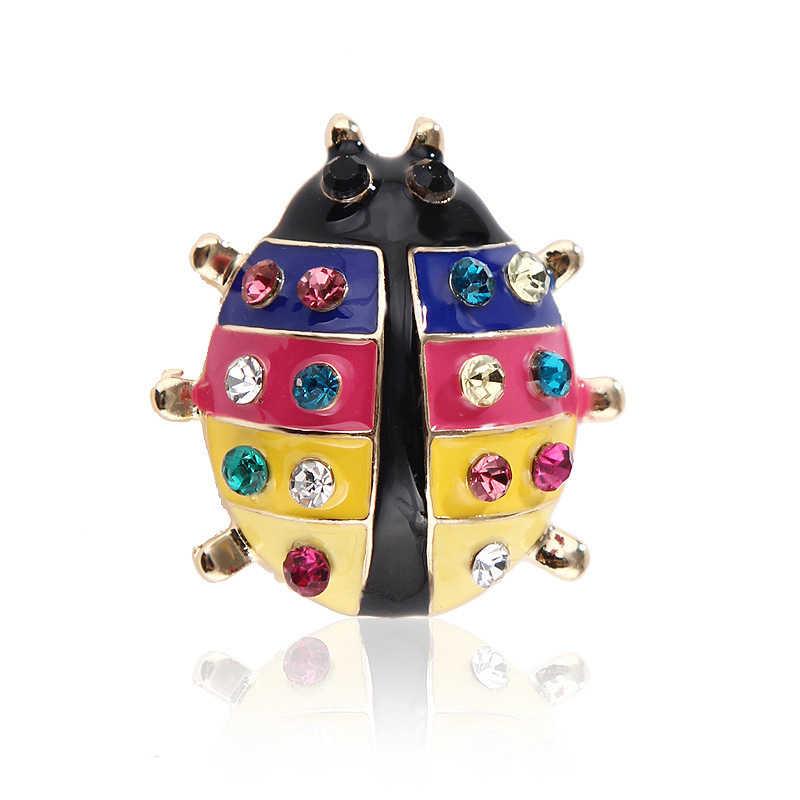 1 adet renkli kristaller uğur böceği broş kızlar için gömlek böcek böcekleri broş eşarp korsaj aksesuarları Pin