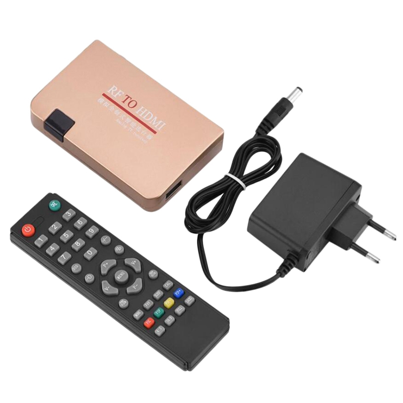 RF To HDMI Converter Adapter Analog Receiver Analog TV Box Digital Box Remote Control EU Plug