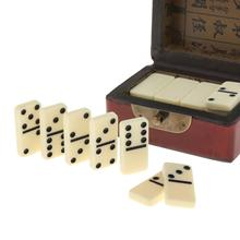 Double Six White with Black Spots Dots Dominoes Game Set 28 Domino Tiles and Wooden Case Portable Travel Toys