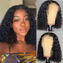 Aircabin Deep Wave 16 Inch HD T Part Lace Closure Bob Wigs Glueless Brazilian Remy Natural Color Human Hair Wigs For Black Women