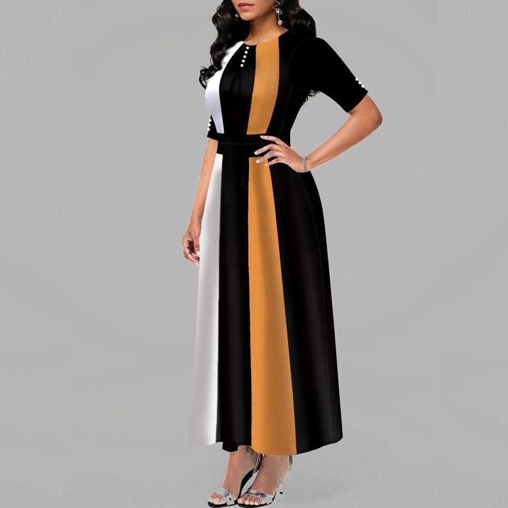 Casual Slim Patchwork Boho Beach Maxi Dress