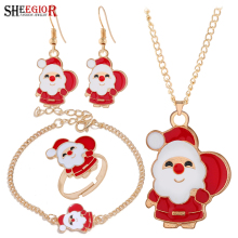 Merry Christmas Santa Claus Jewelry Sets Lovely Enamel Father Christmas Dangle Earrings Ring Necklace Bracelets Jewelry Set Gift santa claus enamel christmas dangle earrings