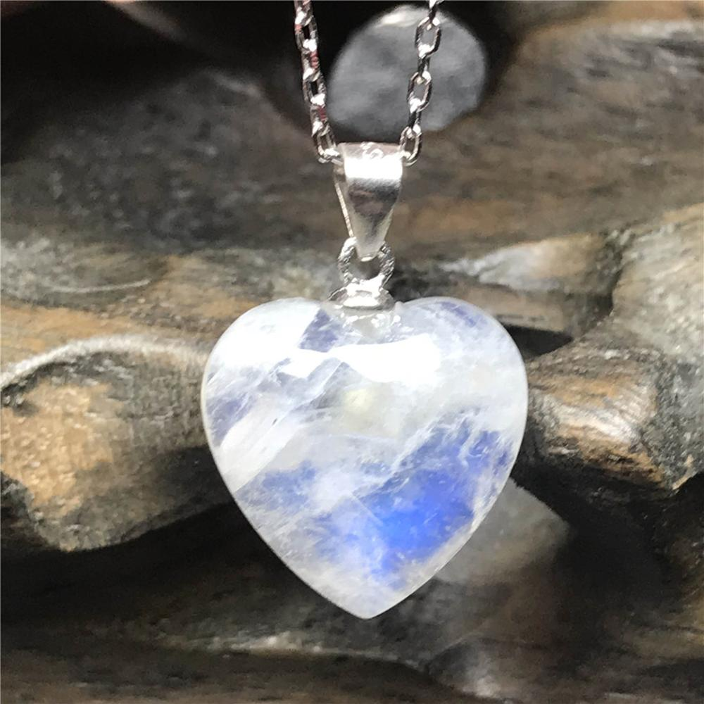 Natural Moonstone Blue Light Heart Pendant Necklace For Woman Love Gift 14x6mm Beads S925 Silver Crystal Luxury Necklace AAAAA