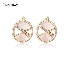 2020 New Design Fashion Round Charms Inlaid Zircon Rhinestone and Pink Shell Designer For Jewelry Making DIY Craft