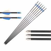Archery 6PCS Carbon Arrows Spine500-1000 ID4.2mm 30'' 80gr Point Tips Pin Nock for Recurve Compound Bow Hunting Shooting