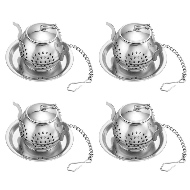Stainless Steel Loose Leaf Tea Strainer With Chain And Drip Tray - Green Tea And Oolong Tea - 4 Pcs Teapot Tea Leak Set Cup