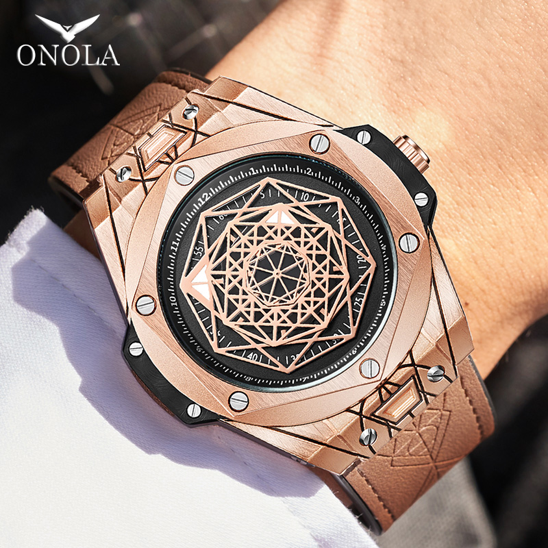 ONOLA Brand Fashion Cusual Quartz Watch Men 2019 New Unusual Unique Waterproof Wrist Watch Male Style Designer Relogio Masculino