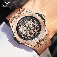 men watch Brand ONOLA Luxury fashion unique sport 2021 new leather quartz watch men relogio masculino