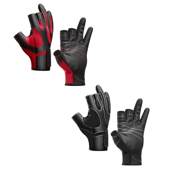 2020 Fishing Outdoor Three-finger Fishing Gloves Leather High Quality Fishing Cycling Gloves For Men Women Autumn Winter Warm