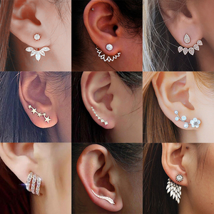 Hot Crystal Flower Stud Earrings for Women Fashion Jewelry Gold Silver Rhinestones Earrings Gift for Party and Best Friend