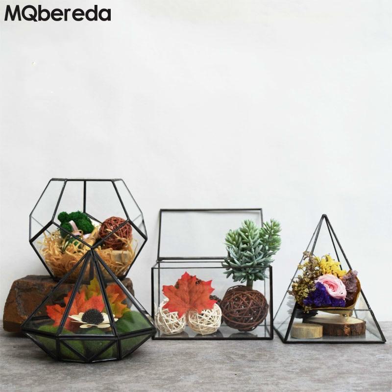 Cubierta de invernadero de vidrio geométrico creativo Micro paisaje - Decoración del hogar