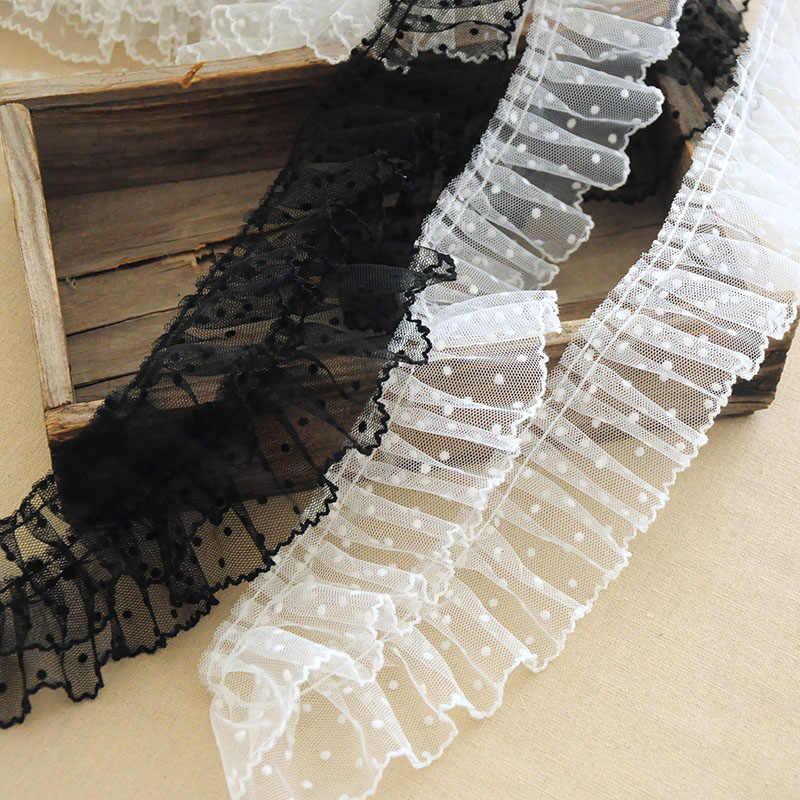 1Yard pilili dantel kumaş geniş 6cm nokta dantel Trim aplike yaka şerit dikiş gipür el sanatları Mesh bağcıkları elbise dentelle VG17
