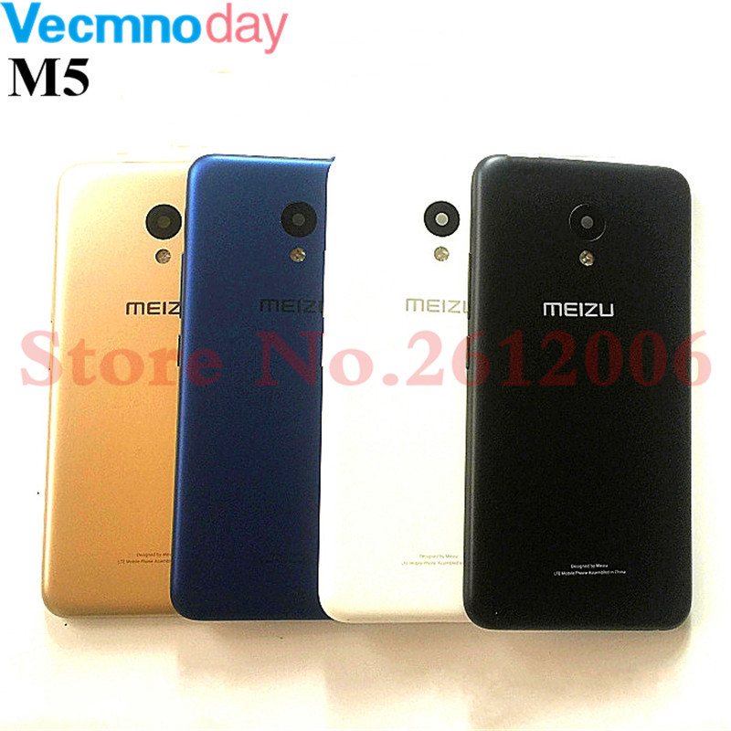 Original New Cover Case For MEIZU M5 Back Battery Cover Housing Replacement Parts With Side Buttons+Camera Lens