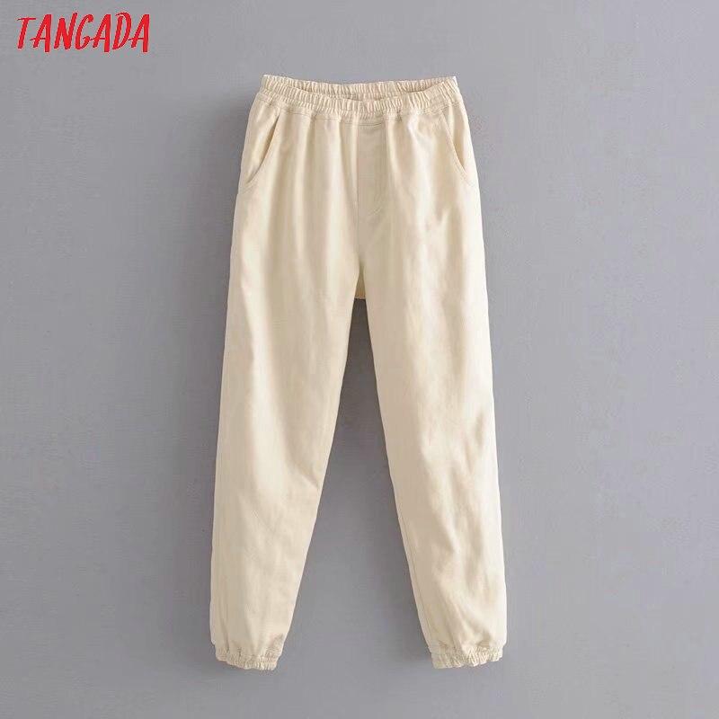 Tangada Fashion Women Loose Beige Jeans Long Trousers Stretch Waist Loose Streetwear Female Denim Pants 6P19