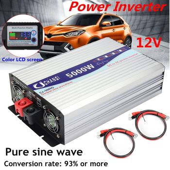 цена на 3000/4000/5000/6000W Portable 12/24V to AC 220V Power Solar Inverter Pure Sine Wave Converter Adapter LCD Screen 93% Conversion