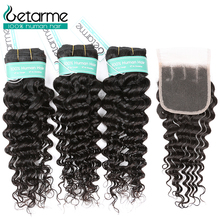 цена на Peruvian Deep Wave Hair 3 Bundles With 4x4 Lace Closure Remy Human Hair Bundles With Closure Free/Middle/Three Part Closures