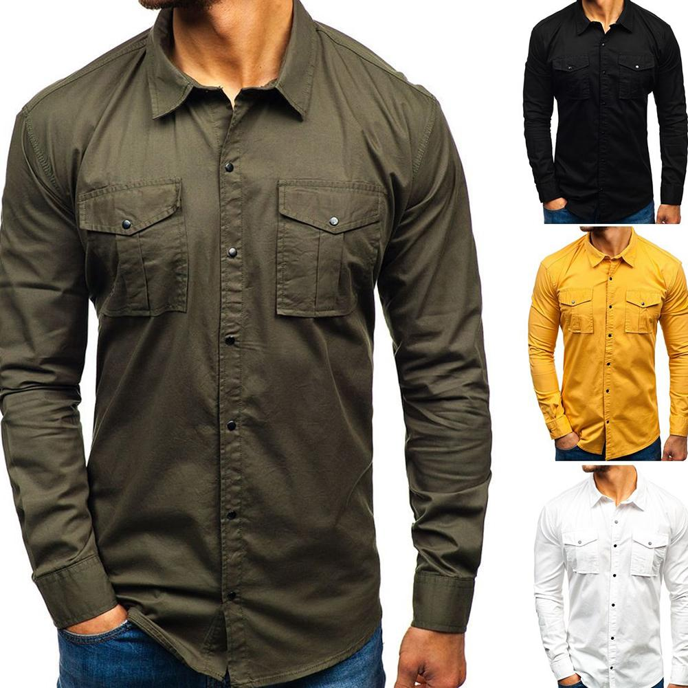 Men's Plain Color, Simple Multi-pocket Slim Fit Shirt Shirt With Long Sleeve And Lapel Collar