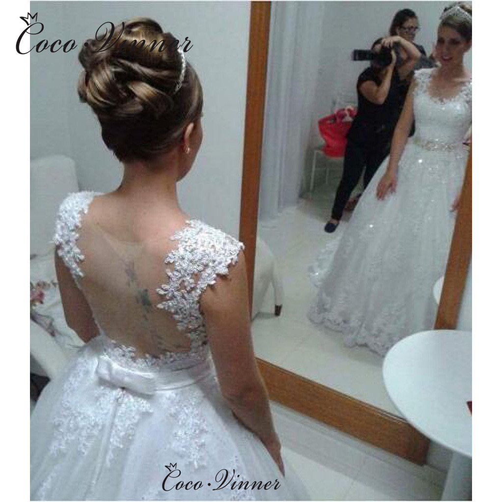 New Lace Appliques Robe De Mariee Wedding Dresses Bridal Gown Crystal Sashes Sleeveless Ball Gown Wedding Dresses 2019 W0480