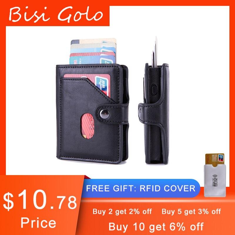 BISI GORO PU Leather Credit Card Holder Men Single Aluminum Wallet RFID Metal Wallet Automatic Pop-up Antitheft Purse Business