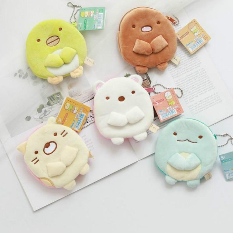 1pc Lovely Sumikko Gurashi Plush Purse Toy Cartoon Stuffed Dolls For Kids Girl Gift Coin Storage Purse Plush Wallet Hang Pendant