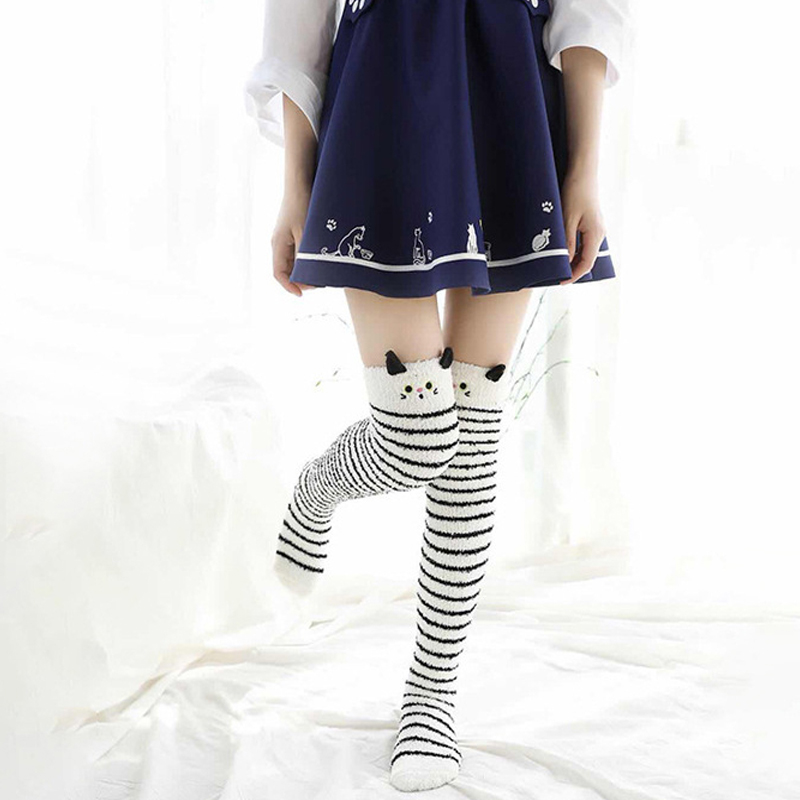2019 <font><b>Kawaii</b></font> Japanese Animal Printed <font><b>Knee</b></font> <font><b>Socks</b></font> Striped Cute Lovely Long Thigh High <font><b>Socks</b></font> Compression Winter Warm Medias <font><b>Sock</b></font> image