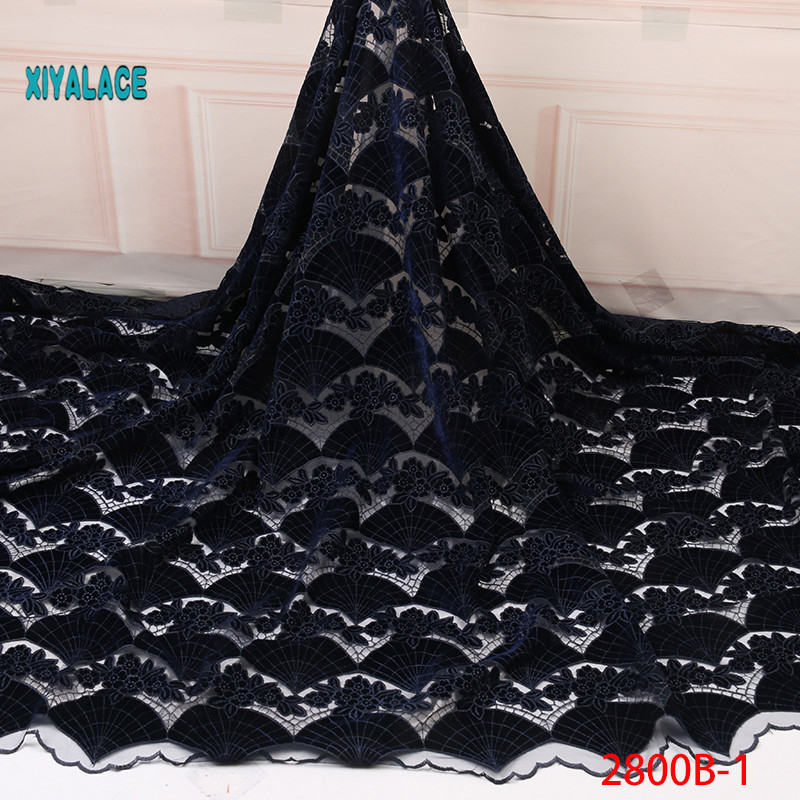 African Velvet Lace Wedding Dress 5Yards African French Mesh Lace Fabric 2019 High Quality French Net Lace Fan Pattern YA2800B-1