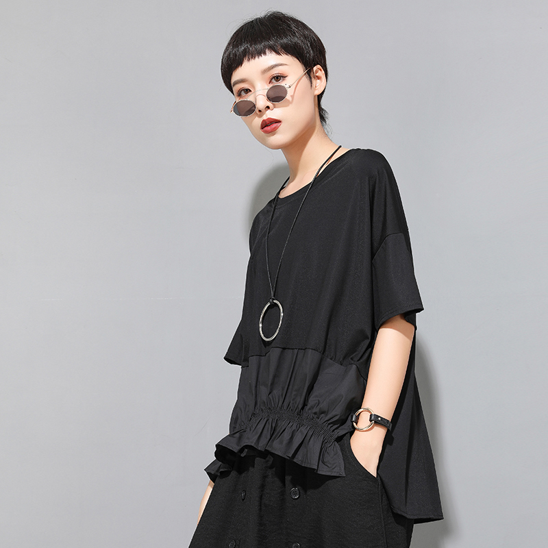 [EAM] Women Black Ruffles Split Irregular Big Size T-shirt New Round Neck Half Sleeve  Fashion Tide  Spring Summer 2020 1U806 2
