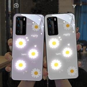 Image 5 - Purple Daisy LED Glow Phone Case for Huawei P20 P30 P40 Pro Mate 20 30 40 Plus Nova 6 5G Honor 20 pro Luminous Glasses Cover