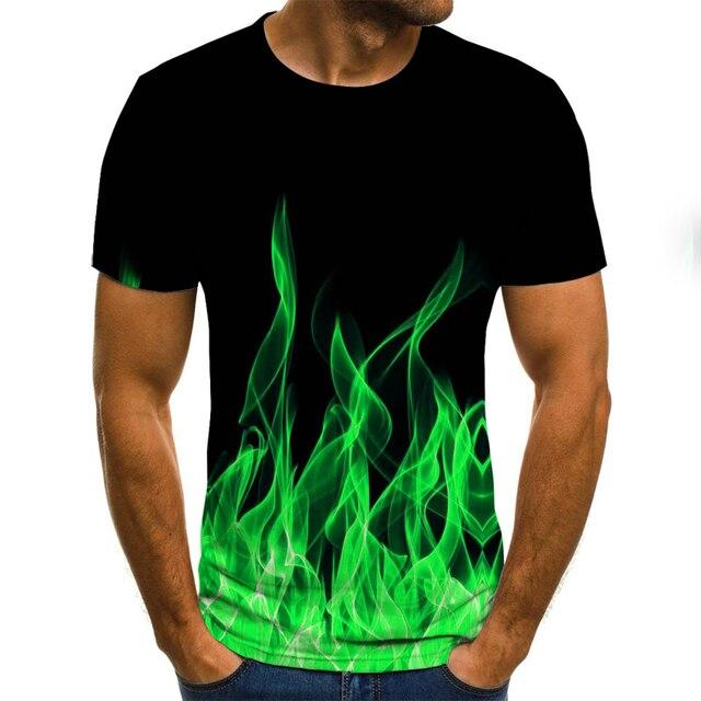 2020 new flame men's T-shirt summer fashion short-sleeved 3D round neck tops smoke element shirt trendy men's T-shirt 3