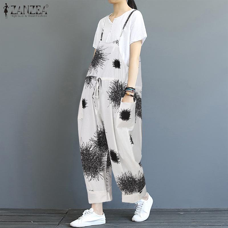 2020 ZANZEA Women Printed Jumpsuits Female Cotton Suspender Overalls Wide Leg Pants Long Rompers Playsuits Combinaison Plus Size