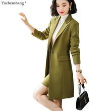 2019 New Fall Winter Women Long Blazer Elegant Long Sleeve F