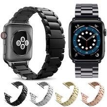 Edelstahl bands für Apple Uhr band iWatch gurt metall uhr band adapter 38mm 40mm 42mm 44mm Armband serie SE 6 5 4 3