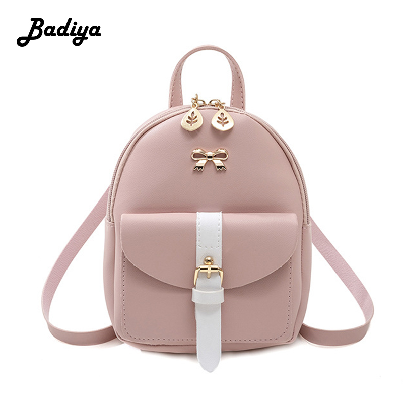 Women Leather Backpack Children Backpack Mini Backpack Women Cute Panelled Schoolbag For Teenage Girls Small Knapsack For Travel