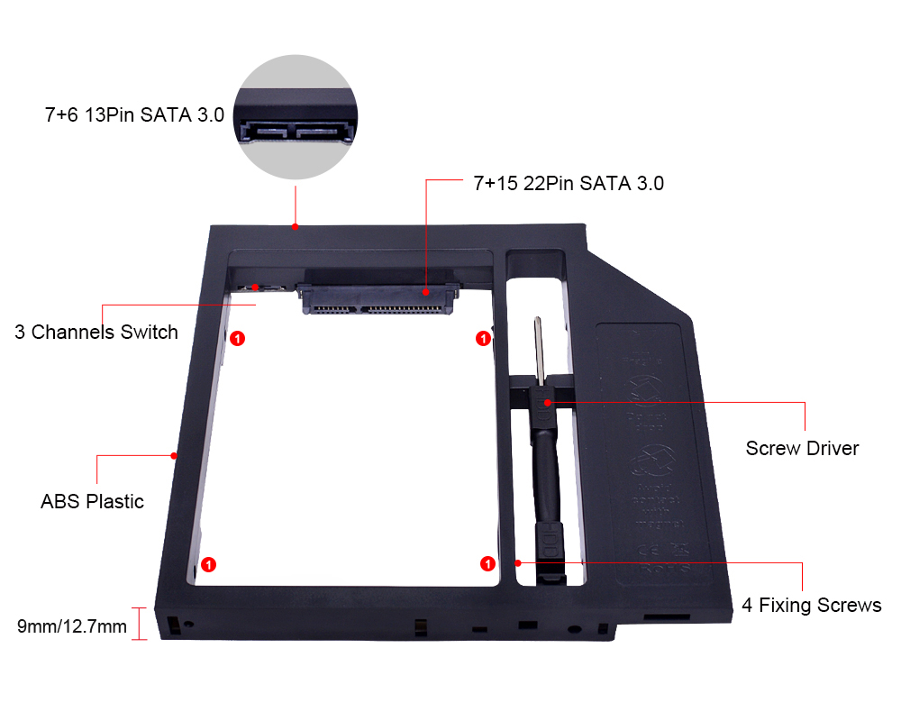 CHIPAL Second 2nd HDD Caddy 9MM 9.5MM 12.7MM SATA 3.0 for 2.5'' SSD Case Hard Disk Drive Adapter for Laptop CD DVD-ROM Optibay 3