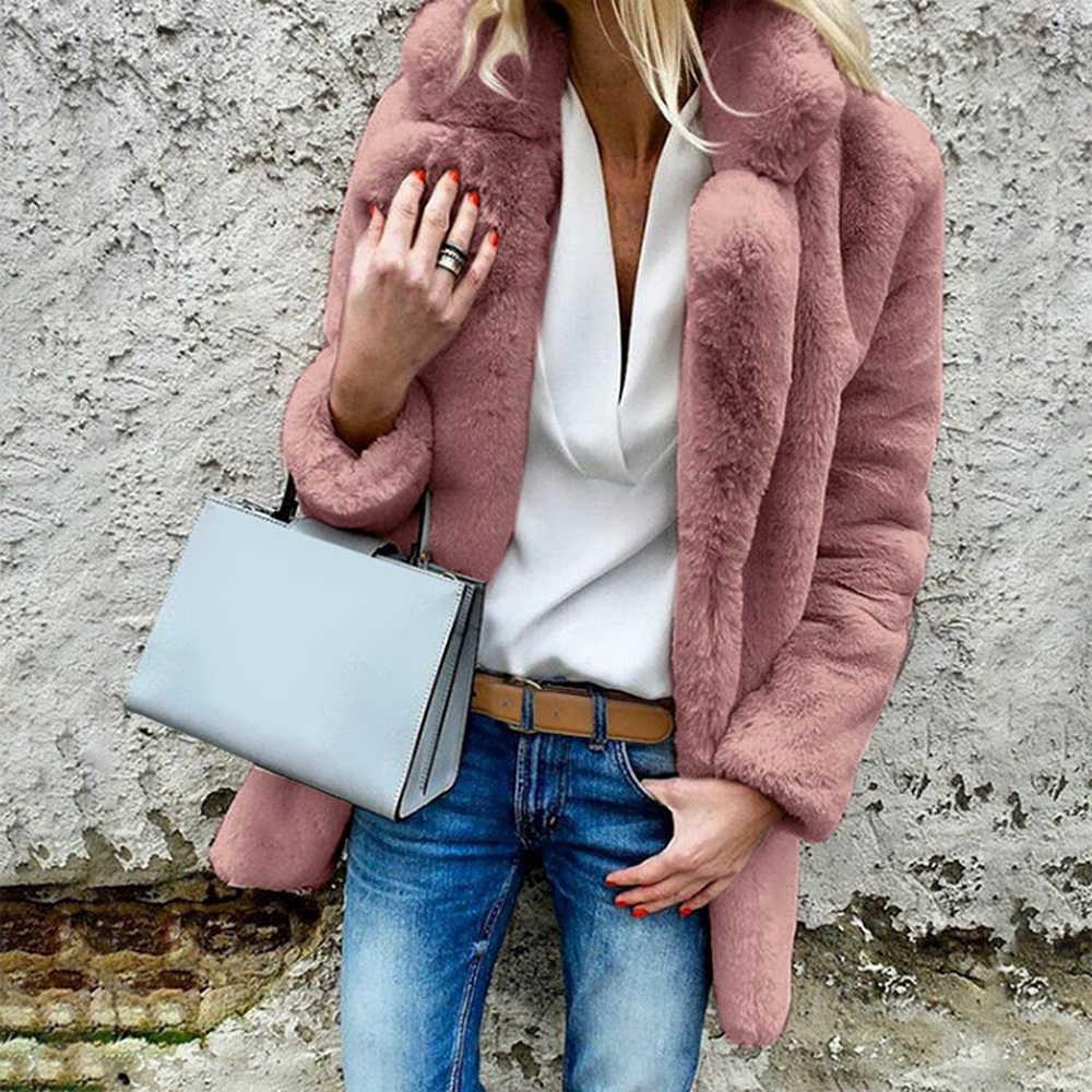 Laamei Casual largo de piel sintética cárdigans abrigo grueso cálido invierno mullido manga larga chaqueta de piel para mujer prendas de vestir abrigo ajustado