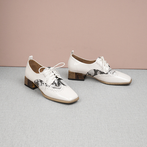 Image 5 - Women summer leather shoes woman brogue lady flats shoes vintage sneakers laces spring casual shoes for women 2020