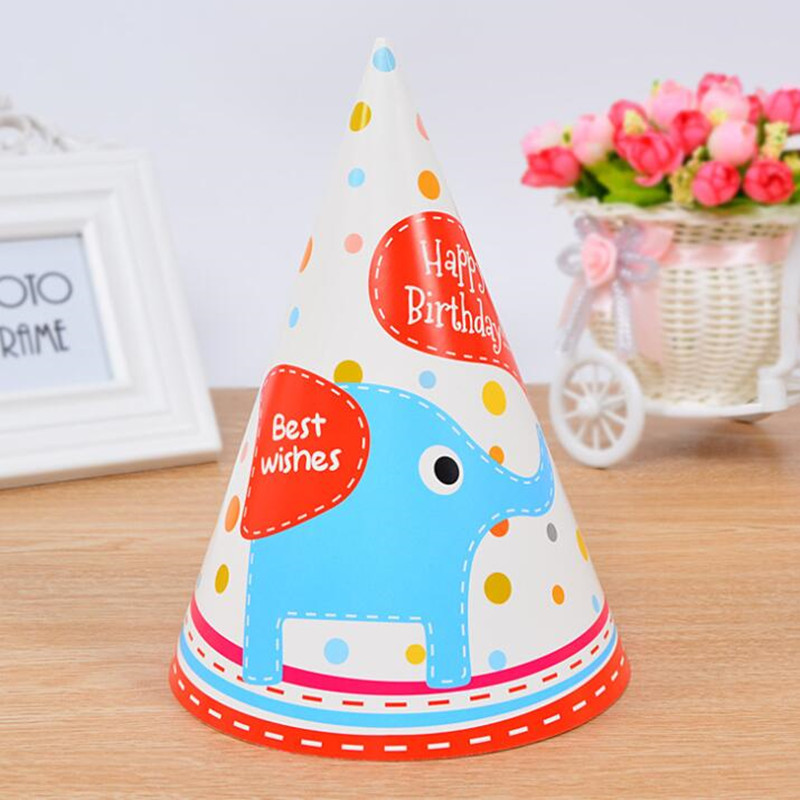 10pcs Happy Birthday Party Hats Cartoon Polka Dot DIY Cute Handmade Paper Cap Child Crown Colorful Birthday Hat Party Decoration in Party Hats from Home Garden
